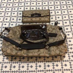 Coach Brown&Tan Satchel & matching wallet!!!